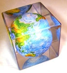 Mova Globe 5 Relief Map Blue in Clear Cube