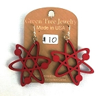 GreenTree earrings - Atom, red