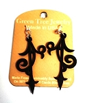 GreenTree earrings - Scroll Ornament, black