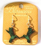 GreenTree earrings - Hummingbird Blossoms, emerald