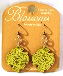 GreenTree earrings - Swirl Blossoms, Lime