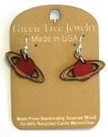 GreenTree earrings - Saturn, crimson