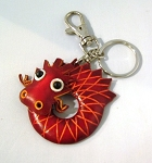Leather Dragon Key Ring, red