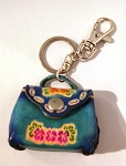Leather Purse Key Ring, blue