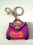 Leather Purse Key Ring, purple