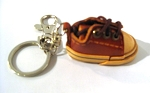 Leather Sneaker Key Ring, brown