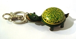 Leather Turtle Key Ring, green