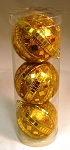 Gold Mirror Ball ornaments, set of 3