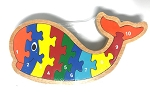 Handcrafted Wooden Whale Number Puzzle