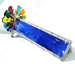 Single Fused Wheel blue stained glass kaleidoscope by Kathleen Hunt