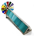 Single Teal Fused Wheel stained glass kaleidoscope by Kathleen Hunt
