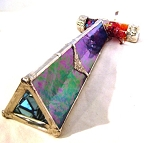West Wind blue iridescent stained glass kaleidoscope by Mike and Joann Jacobs
