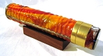 Sparky, 3 mirror isosceles flame stained glass kaleidoscope by Steve & Peggy Kittelson