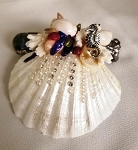 Mini Seashell Kaleidoscope with aquarium bead, small seahorse by Cathy Painter
