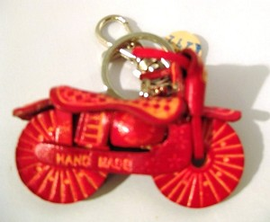 Leather Motorcycle Key Ring, red