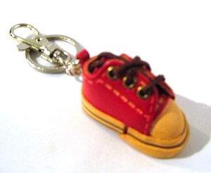 Leather Sneaker Key Ring, red
