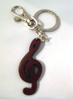 Leather Treble Clef Key Ring