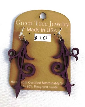 GreenTree earrings - Scroll Ornament, purple
