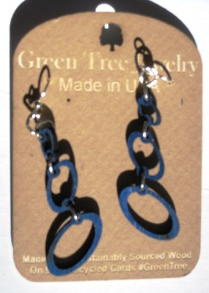 GreenTree earrings - Ovals, blue