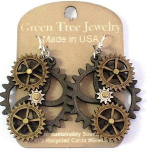 GreenTree kinetic earrings - 4 Gears G, brown