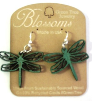 GreenTree earrings - Dragonfly Blossoms, emerald