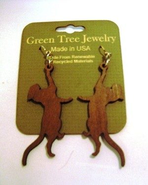 GreenTree earrings - Cat stretching, B