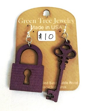 GreenTree earrings - Lock & Key, purple