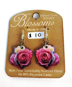 GreenTree earrings - Blossoms, Rose image