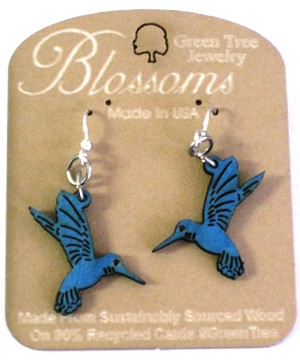 GreenTree earrings - Hummingbird Blossoms, brilliant blue