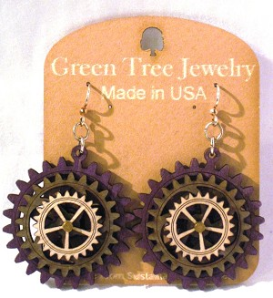 GreenTree kinetic earrings - Triple Gear, G