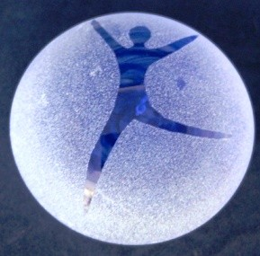 Frosted paperweight dancing blue