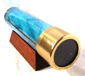 Orion, polarized, teal stained glass kaleidoscope by Steve & Peggy Kittelson