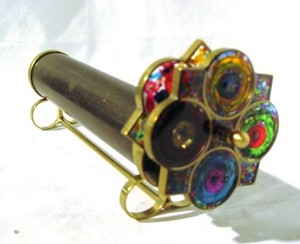 Small Brass 3 Mirror Double Wheel Kaleidoscope by Roy Cohen