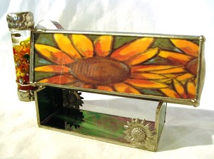 Sunflower stained glass kaleidoscope by Mike and Joann Jacobs