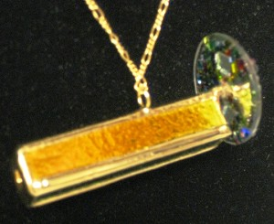 Dichroic Gold 4-Mirror kaleidoscope necklace by Lori Riley