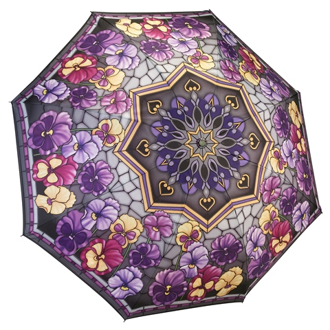 Reverse Fold Stained Glass Pansies Compact Umbrella