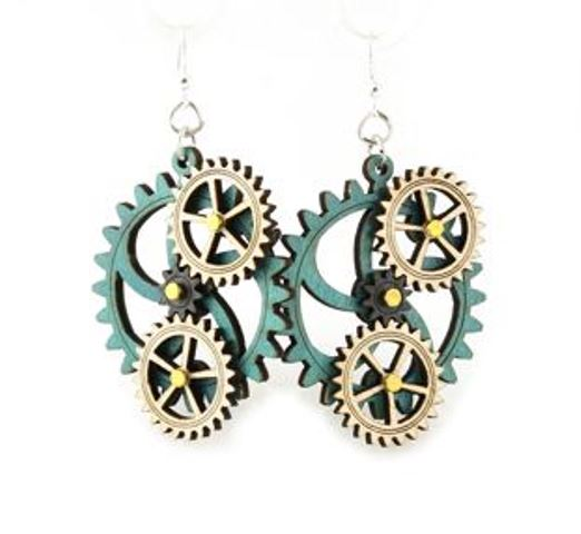 GreenTree kinetic earrings - 4 Gears E, blue