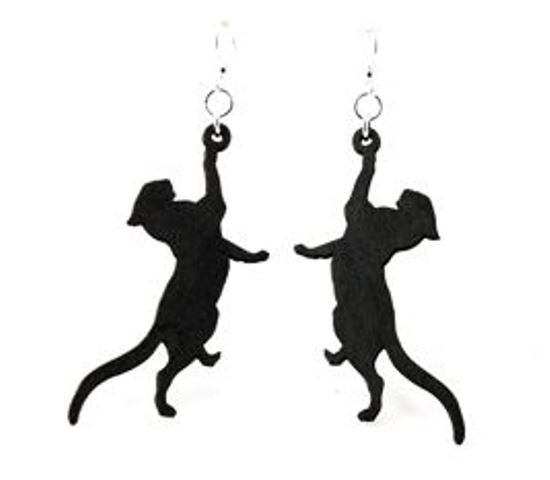 GreenTree earrings - black cat stretching