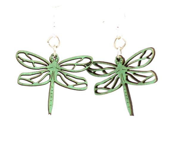 GreenTree Blossom earrings - Emerald Dragonfly