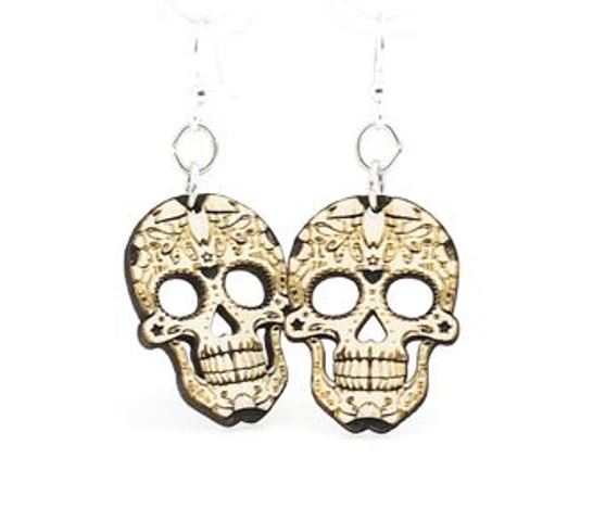 GreenTree earrings - Skull, natural wood