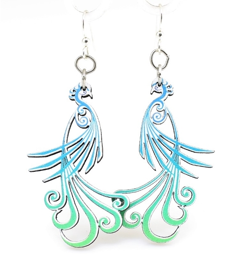 GreenTree earrings - Flowing peacock