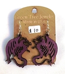 GreenTree earrings - Dragon, purple