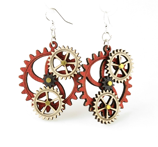 GreenTree kinetic earrings - 4 Gears A, red