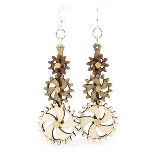 GreenTree kinetic earrings - Triple Stack A, brown