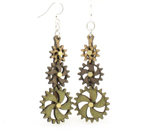 GreenTree kinetic earrings - Triple Stack D, green