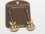 GreenTree earrings - Electric Guitar, natural wood