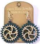 GreenTree kinetic earrings - 2 Gears E, blue