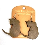 GreenTree earrings - Cat silhouette, gray