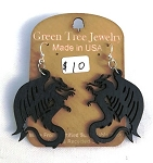 GreenTree earrings - Dragon, black