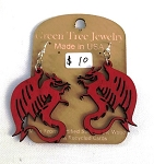 GreenTree earrings - Dragon, red